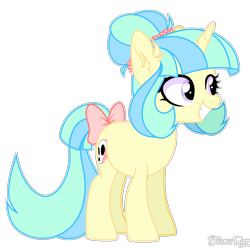 Size: 2500x2480 | Tagged: safe, artist:dianamur, oc, oc only, oc:sugarsweet, pony, unicorn, bow, female, grin, hair bun, high res, mare, simple background, smiling, solo, tail bow, transparent background, white outline