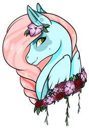 Size: 1024x1464 | Tagged: safe, artist:oneiria-fylakas, oc, oc only, oc:waterlily, pegasus, pony, bust, female, flower, flower in hair, mare, misleading thumbnail, portrait, simple background