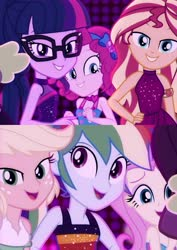 Size: 1240x1749 | Tagged: safe, screencap, applejack, fluttershy, pinkie pie, rainbow dash, sci-twi, spike, sunset shimmer, twilight sparkle, equestria girls, equestria girls series, i'm on a yacht, spoiler:eqg series (season 2), neon eg logo, sleeveless