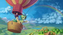 Size: 1920x1080 | Tagged: safe, artist:discordthege, earth pony, pony, unicorn, female, flying, hot air balloon, mare, mountain, mountain range, rainbow, scenery, storm