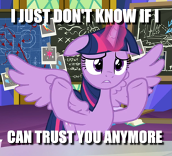 Size: 973x883 | Tagged: safe, edit, edited screencap, screencap, twilight sparkle, alicorn, pony, sparkle's seven, caption, chalkboard, cropped, female, floppy ears, frown, image macro, mare, meme, reaction image, shrug, solo, spread wings, text, twilight sparkle (alicorn), wings