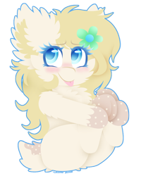 Size: 732x916 | Tagged: safe, artist:vanillaswirl6, oc, oc only, oc:mary little, pony, deer tail, flower, flower in hair, photoshop, simple background, sitting, tongue out, transparent background