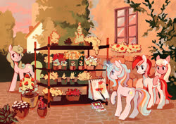 Size: 1500x1055 | Tagged: safe, artist:dearmary, daisy, flower wishes, lily, lily valley, roseluck, oc, oc:oofy colorful, earth pony, pony, unicorn, commission, female, flower trio, mare, painting