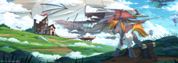 Size: 3840x1365 | Tagged: safe, artist:redchetgreen, oc, oc only, earth pony, pony, airship, bag, building, grass, high res, hot air balloon, male, rock, saddle bag, scenery, scenery porn, scroll