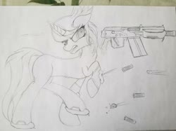 Size: 631x473 | Tagged: safe, artist:straighttothepointstudio, oc, oc only, oc:emination harvest, pony, angry, armor, black and white, bullet, bullet hole, fluffy, grayscale, gun, long tail, monochrome, saiga 12k, shotgun, shotgun shell, solo, traditional art, weapon