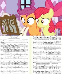 Size: 1650x1965 | Tagged: safe, edit, edited screencap, screencap, apple bloom, scootaloo, may the best pet win, on your marks, leak, behind the scenes, boutique, carousel boutique, concerned, cutie mark, find a pet, mannequin, music notes, sheet music, the cmc's cutie marks