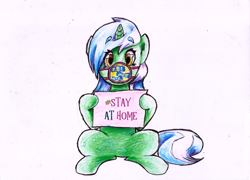 Size: 2082x1496 | Tagged: safe, artist:manny b.garcia, artist:mannybcadavera, lyra heartstrings, pony, unicorn, colored pencil drawing, coronavirus, covid-19, cutie mark, implied bon bon, looking at you, paper, sitting, solo, stay at home, traditional art