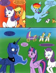 Size: 1000x1295   Tagged: safe, artist:emilou1985, applejack, princess luna, rainbow dash, rarity, twilight sparkle, alicorn, pony, comic:signs, carriage, pregnant, royal guard, twilight sparkle (alicorn)
