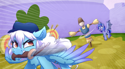 Size: 3000x1650 | Tagged: safe, artist:witchtaunter, oc, oc:feferi, oc:ice, bat pony, pegasus, pony, action pose, angry, bat pony oc, bat wings, commission, cutting, dummy, knife, surprised, wings