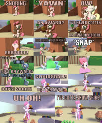 Size: 750x906 | Tagged: safe, artist:undeadponysoldier, derpy hooves, pinkie pie, trixie, earth pony, pegasus, pony, unicorn, comic:big pinkie loser, series:spikebob scalepants, 3d, angry, big pink loser, cloudsdale, female, funny, gmod, golden oaks library, mare, parody, pinkie being pinkie, scared, silly, spongebob squarepants, transformation