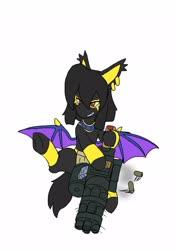 Size: 1451x2048 | Tagged: safe, artist:omegapony16, oc, oc only, oc:oriponi, bat pony, pony, bat pony oc, bat wings, bracelet, ear piercing, earring, female, flying, grin, gun, jewelry, mare, piercing, smiling, solo, underhoof, weapon, wings