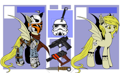 Size: 3452x2071 | Tagged: safe, artist:j053ph-d4n13l, oc, oc only, oc:quickfire, bat pony, pony, armor, bat pony oc, bat wings, belt, blaster, clothes, crossover, female, gun, handgun, helmet, knife, mandalorian, mare, pistol, pouch, reference sheet, scarf, simple background, solo, star wars, tattoo, transparent background, weapon, wings