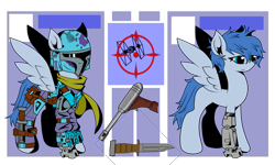 Size: 3452x2071 | Tagged: safe, artist:j053ph-d4n13l, oc, oc only, oc:night-flight, cyborg, pegasus, pony, amputee, armor, belt, blaster, clothes, crossover, female, gun, handgun, helmet, knife, mandalorian, mare, pistol, pouch, prosthetic limb, prosthetics, reference sheet, scarf, simple background, solo, star wars, transparent background