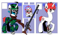 Size: 3452x2071 | Tagged: safe, artist:j053ph-d4n13l, oc, oc only, oc:pin point (ice1517), cyborg, pony, unicorn, amputee, armor, belt, blaster, clothes, crossover, gun, helmet, male, mandalorian, pouch, prosthetic limb, prosthetics, raised hoof, reference sheet, rifle, scarf, simple background, sniper, sniper rifle, solo, stallion, star wars, transparent background, weapon