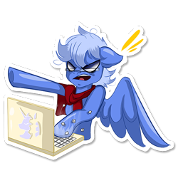 Size: 512x512 | Tagged: safe, artist:rainy105, oc, oc only, oc:daily air, pegasus, pony, angry, clothes, computer, laptop computer, male, scarf, simple background, solo, sticker, telegram sticker, transparent background