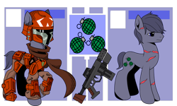 Size: 3452x2071 | Tagged: safe, artist:j053ph-d4n13l, oc, oc only, oc:blast buster, earth pony, pony, armor, belt, clothes, crossover, gun, helmet, machine gun, male, mandalorian, pouch, raised hoof, reference sheet, scar, scarf, simple background, solo, stallion, star wars, transparent background, weapon
