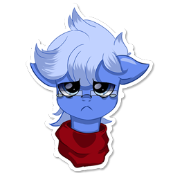 Size: 512x512 | Tagged: safe, artist:rainy105, oc, oc only, oc:daily air, pegasus, pony, clothes, crying, ear down, looking at you, male, sad, scarf, simple background, solo, sticker, telegram sticker, transparent background