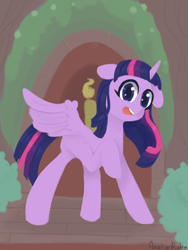 Size: 1200x1600 | Tagged: safe, artist:angelinarichter, twilight sparkle, alicorn, pony, cute, female, floppy ears, golden oaks library, looking at you, mare, missing cutie mark, open mouth, solo, spread wings, twiabetes, twilight sparkle (alicorn), wings