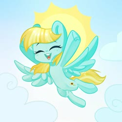 Size: 1000x1000 | Tagged: safe, artist:thieftea, helia, pegasus, pony, cloud, cute, eyes closed, female, flying, heliadorable, mare, open mouth, sky, solo, spread wings, sun, wings