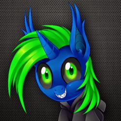 Size: 512x512 | Tagged: artist needed, safe, oc, oc only, bat pony, bat pony unicorn, hybrid, unicorn, bust, clothes, ear fluff, hoodie, horn, sharp teeth, solo, teeth