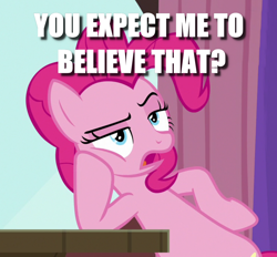 Size: 1120x1038 | Tagged: safe, edit, edited screencap, screencap, pinkie pie, a trivial pursuit, bipedal, bipedal leaning, caption, cropped, image macro, leaning, meme, reaction image, solo, text, unamused