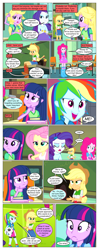 Size: 612x1553 | Tagged: safe, artist:greatdinn, artist:newbiespud, edit, edited screencap, screencap, applejack, fluttershy, pinkie pie, rainbow dash, rarity, twilight sparkle, comic:friendship is dragons, equestria girls, equestria girls (movie), apple, chalkboard, clothes, collaboration, comic, crossed arms, cutie mark, cutie mark on clothes, dialogue, disguise, dress, eyes closed, female, food, football, freckles, frown, hat, humane five, humane six, incomplete twilight strong, open mouth, screencap comic, smiling, sports, thinking, twilight strong, wig
