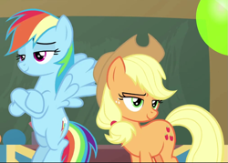 Size: 1009x721 | Tagged: safe, screencap, applejack, rainbow dash, teacher of the month (episode), spoiler:interseason shorts, cropped, crossed hooves, duo, flying, lidded eyes, smiling, smug