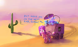 Size: 2870x1739 | Tagged: safe, artist:xbi, starlight glimmer, trixie, pony, unicorn, ball, cactus, cart, cup, desert, duo, female, food, ice, ice cube, mare, sweat, tea, umbrella