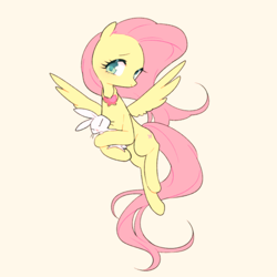 Size: 500x500 | Tagged: safe, artist:kkmrarar, angel bunny, fluttershy, pegasus, pony, colored pupils, cream background, cute, duo, element of kindness, female, mare, shyabetes, simple background, spread wings, wings