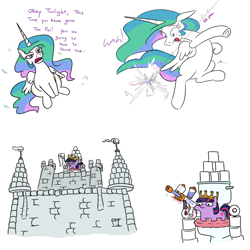 Size: 2048x2048 | Tagged: safe, artist:jargon scott, princess celestia, twilight sparkle, alicorn, pony, unicorn, castle, comic, coronavirus, covid-19, dialogue, female, glowing horn, gun, high res, hoarding, horn, magic, mare, paper crown, pure unfiltered evil, squatpony, telekinesis, toilet, toilet paper, twibitch sparkle, twiggie, unicorn twilight, weapon