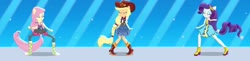 Size: 2580x634   Tagged: safe, edit, edited screencap, editor:thomasfan45, screencap, applejack, fluttershy, rarity, human, dance magic, equestria girls, spoiler:eqg specials, blouse, boots, clothes, compilation, cowboy hat, cute, dance magic (song), dancing, disco outfit, dress, eyes closed, female, hat, jackabetes, legs, pants, ponied up, ponytail, raribetes, shoes, shyabetes, skirt, smiling, solo, street ballet, street ballet tutu
