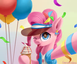 Size: 1800x1500 | Tagged: safe, artist:emeraldgalaxy, pinkie pie, earth pony, pony, :p, balloon, bracelet, bust, clothes, confetti, cute, diapinkes, digital art, female, food, ice cream, jewelry, mare, one eye closed, pinwheel (toy), smiling, solo, tongue out, visor, wink