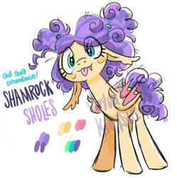 Size: 1080x1084 | Tagged: safe, artist:virtualkidavenue, oc, oc only, oc:shamrock sholes, bat pony, pony, adoptable, bat pony oc, bat wings, eye clipping through hair, fangs, floppy ears, heterochromia, solo, tongue out, watermark, wings
