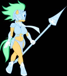 Size: 1134x1280 | Tagged: safe, artist:danielssj, oc, oc only, oc:grace leaf, anthro, earth pony, unguligrade anthro, armor, belly button, black background, clothes, female, gloves, guard, helmet, loincloth, scarf, simple background, solo, spear, tail, weapon