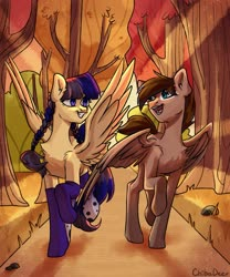Size: 1707x2048 | Tagged: safe, artist:chibadeer, oc, oc only, pegasus, pony, autumn, clothes, duo, forest, scenery, socks