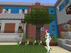 Size: 2048x1536 | Tagged: safe, artist:razethebeast, artist:topsangtheman, bon bon, sweetie drops, equestria girls, house, lily of the valley, looking at you, minecraft, tall grass, tree
