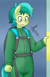 Size: 645x1000 | Tagged: safe, artist:alyrise, sandbar, anthro, blushing, clothes, commission, jumpsuit, male, parachute, scared, skydiving, solo, standing
