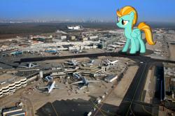 Size: 2608x1730 | Tagged: source needed, safe, artist:pasuri98, artist:somerandomminion, lightning dust, pegasus, pony, female, giant pony, giantess, highrise ponies, irl, macro, mare, photo, plane, ponies in real life, vehicle