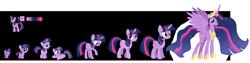 Size: 9000x2256 | Tagged: safe, artist:90sigma, artist:andoanimalia, artist:kingdark0001, artist:kysss90, artist:mlp-lolada, artist:seahawk270, edit, twilight sparkle, alicorn, pony, unicorn, the cutie mark chronicles, the last problem, 5-year-old, absurd resolution, age progression, baby, baby pony, babylight sparkle, base used, chart, color palette, cutie mark, female, filly, filly twilight sparkle, mare, older, older twilight, princess twilight 2.0, simple background, teenager, transparent background, twilight sparkle (alicorn), unicorn twilight, vector, younger
