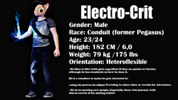 Size: 2560x1440 | Tagged: safe, artist:wolfthepredator, oc, oc only, oc:electro-crit, anthro, plantigrade anthro, 3d, conduit, electricity, gmod, infamous, male, reference sheet, smiling, smirk, solo, super powers