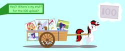 Size: 3816x1560 | Tagged: safe, artist:draymanor57, rainbow dash, sci-twi, sunset shimmer, twilight sparkle, oc, oc:blackjack, pony, unicorn, fallout equestria, fallout equestria: project horizons, equestria girls, fanfic art, wagon