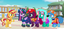 Size: 2340x1080 | Tagged: safe, artist:徐詩珮, fizzlepop berrytwist, glitter drops, spring rain, sunset shimmer, tempest shadow, twilight sparkle, alicorn, unicorn, series:sprglitemplight diary, series:sprglitemplight life jacket days, series:springshadowdrops diary, series:springshadowdrops life jacket days, aid marshall (paw patrol), alternate universe, bisexual, broken horn, chase (paw patrol), clothes, crying, cute, female, glitterbetes, glitterlight, glittershadow, glittershimmer, horn, lesbian, lifeguard, lifeguard spring rain, marshall (paw patrol), paw patrol, polyamory, shipping, skye (paw patrol), sprglitemplight, sprglitemplightshimmer, springbetes, springdrops, springlight, springshadow, springshadowdrops, springshimmer, spy chase (paw patrol), sunsetsparkle, tears of joy, tempestbetes, tempestlight, tempestlightshimmer, tempestshimmer, twilight sparkle (alicorn), zuma (paw patrol)