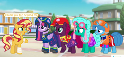 Size: 2340x1080 | Tagged: safe, artist:徐詩珮, fizzlepop berrytwist, glitter drops, spring rain, sunset shimmer, tempest shadow, twilight sparkle, alicorn, unicorn, series:sprglitemplight diary, series:sprglitemplight life jacket days, series:springshadowdrops diary, series:springshadowdrops life jacket days, aid marshall (paw patrol), alternate universe, bisexual, broken horn, chase (paw patrol), clothes, crying, cute, dialogue, female, glitterbetes, glitterlight, glittershadow, glittershimmer, horn, lesbian, lifeguard, lifeguard spring rain, marshall (paw patrol), paw patrol, polyamory, shipping, skye (paw patrol), sprglitemplight, sprglitemplightshimmer, springbetes, springdrops, springlight, springshadow, springshadowdrops, springshimmer, spy chase (paw patrol), sunsetsparkle, tears of joy, tempestbetes, tempestlight, tempestlightshimmer, tempestshimmer, twilight sparkle (alicorn), zuma (paw patrol)