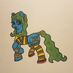 Size: 1024x1024   Tagged: safe, artist:dice-warwick, oc, oc only, oc:star charter, earth pony, fallout equestria, clothes, ear piercing, earring, gold rings, jewelry, piercing, pipbuck, scarf, shoes, socks, solo, striped socks, tail ring, thigh highs, traditional art, wavy mane