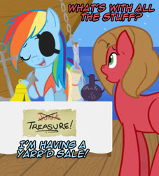 Size: 726x800 | Tagged: safe, artist:pokemon-chick-1, rainbow dash, oc, oc:pun, ask pun, ask, pirate dash, pun