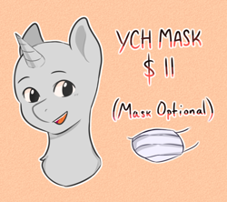Size: 1800x1600 | Tagged: safe, artist:poofindi, advertisement, bust, mask, smiling, text, ych example, your character here