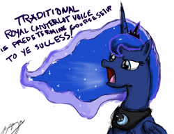 Size: 3300x2550 | Tagged: safe, artist:peperoger, princess luna, alicorn, pony, simple background, solo, traditional royal canterlot voice, white background