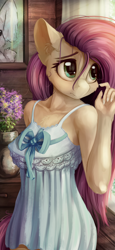 Size: 1440x3120 | Tagged: safe, alternate version, artist:alcor, fluttershy, anthro, pegasus, bow, breasts, busty fluttershy, cheek fluff, chest fluff, clothes, cute, dress, ear fluff, erect nipples, female, flower, indoors, looking away, mare, nipple outline, shyabetes, solo, stray strand, sundress