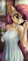 Size: 1440x3120 | Tagged: safe, alternate version, artist:alcor, fluttershy, anthro, pegasus, breasts, busty fluttershy, cheek fluff, chest fluff, clothes, cute, dress, ear fluff, female, flower, indoors, looking away, mare, nightgown, shyabetes, solo, stray strand