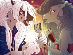 Size: 1280x960 | Tagged: safe, artist:dementra369, oc, oc only, oc:noize, oc:rin frost, anthro, pony, anthro oc, clothes, couple, duet, eye contact, female, lip piercing, lipstick, long hair, looking at each other, male, mare, microphone, open mouth, piercing, singing, stallion